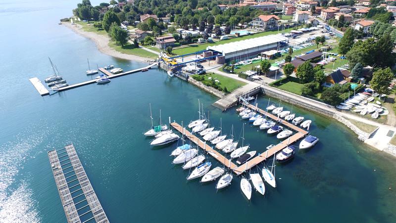 Boats mooring lake Como marina